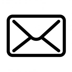 simple black envelope icon with white background