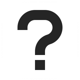 black question mark on white background