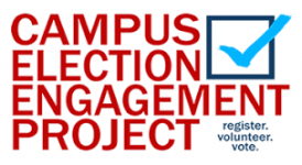 """campus election engagement project"" written in red with a checked box and the words ""register. volunteer. vote"""