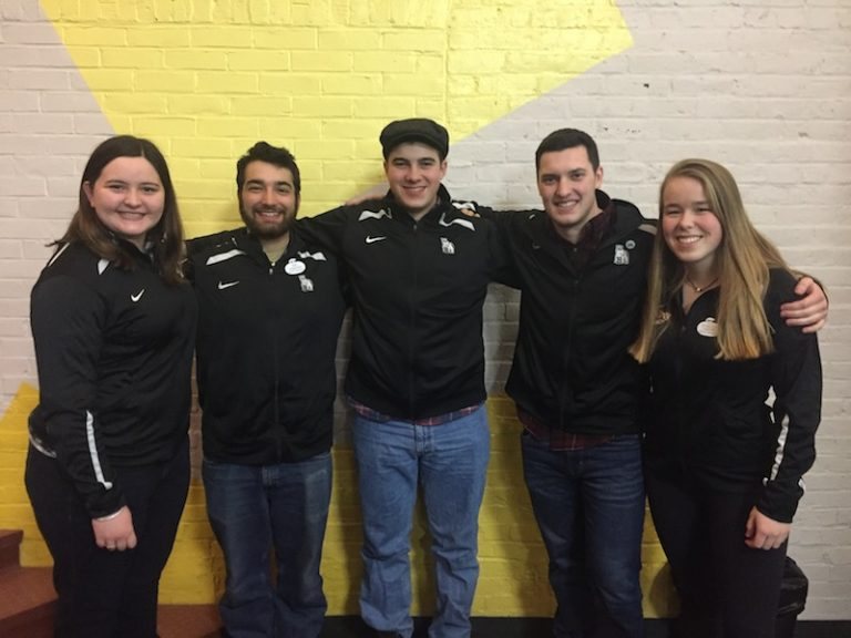Bowdoin Curling leaders: Kylie Best '19, Thomas Ezquerro '18, Cole Hamel '18, Zachary LeBlanc '20, and Isabella Vakkur '20