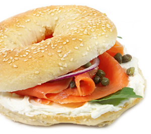 Bagel with smoked salmon, cream cheese, capers, and red onions.